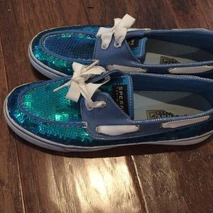 Sperry sequin boat topsider shoes size 7.5 blue